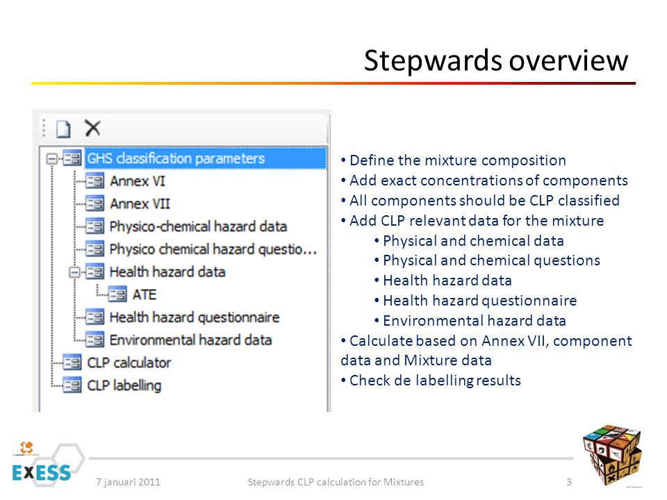 7 januari 2011Stepwards CLP calculation for Mixtures3 Stepwards overview Define the mixture composition Add exact concentrations of components All components should be CLP classified Add CLP relevant data for the mixture Physical and chemical data Physical and chemical questions Health hazard data Health hazard questionnaire Environmental hazard data Calculate based on Annex VII, component data and Mixture data Check de labelling results