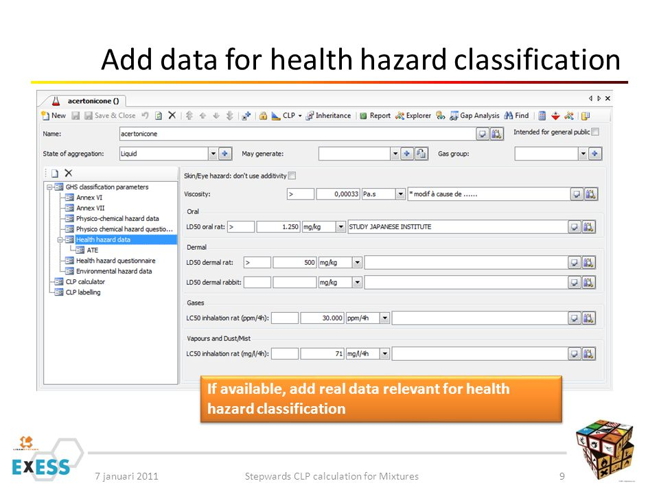 7 januari 2011Stepwards CLP calculation for Mixtures9 Add data for health hazard classification If available, add real data relevant for health hazard classification