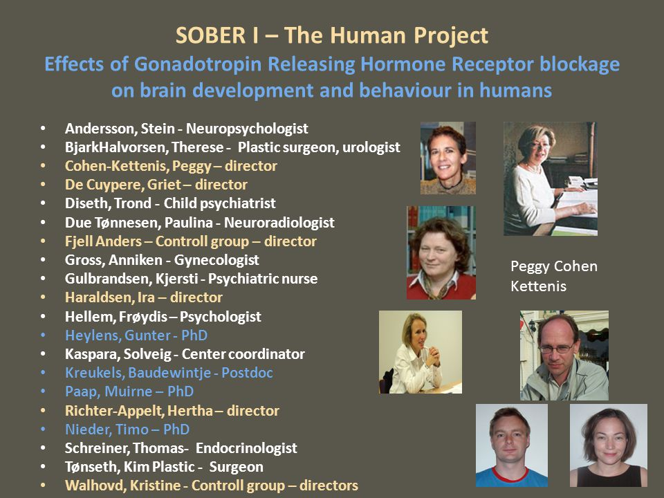SOBER I – The Human Project Effects of Gonadotropin Releasing Hormone Receptor blockage on brain development and behaviour in humans Andersson, Stein