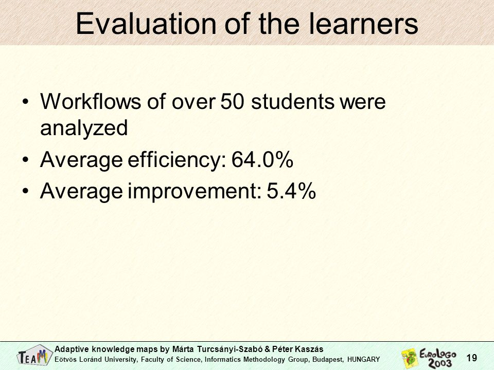Adaptive knowledge maps by Márta Turcsányi-Szabó & Péter Kaszás Eötvös Loránd University, Faculty of Science, Informatics Methodology Group, Budapest, HUNGARY 19 Evaluation of the learners Workflows of over 50 students were analyzed Average efficiency: 64.0% Average improvement: 5.4%