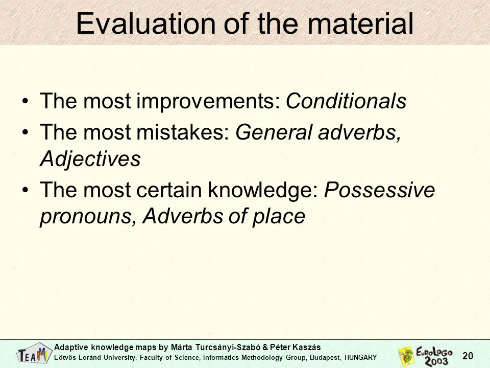 Adaptive knowledge maps by Márta Turcsányi-Szabó & Péter Kaszás Eötvös Loránd University, Faculty of Science, Informatics Methodology Group, Budapest, HUNGARY 20 Evaluation of the material The most improvements: Conditionals The most mistakes: General adverbs, Adjectives The most certain knowledge: Possessive pronouns, Adverbs of place