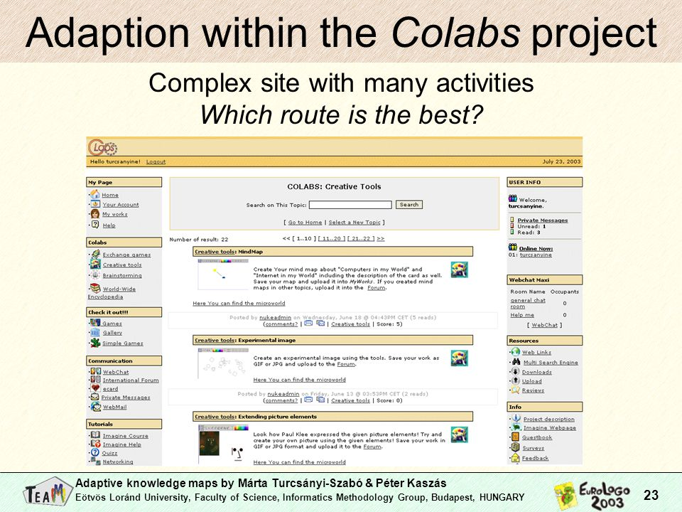 Adaptive knowledge maps by Márta Turcsányi-Szabó & Péter Kaszás Eötvös Loránd University, Faculty of Science, Informatics Methodology Group, Budapest, HUNGARY 23 Adaption within the Colabs project Complex site with many activities Which route is the best