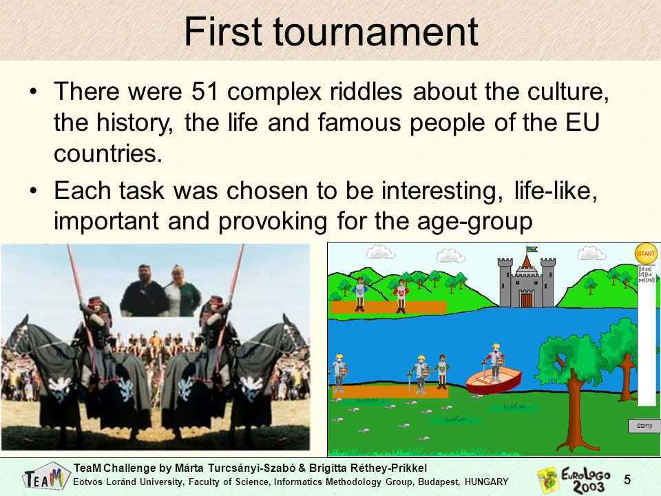 TeaM Challenge by Márta Turcsányi-Szabó & Brigitta Réthey-Prikkel Eötvös Loránd University, Faculty of Science, Informatics Methodology Group, Budapest, HUNGARY 5 First tournament There were 51 complex riddles about the culture, the history, the life and famous people of the EU countries.