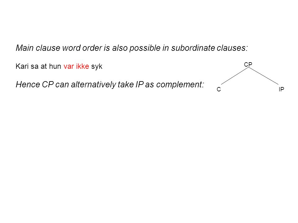 Main clause word order is also possible in subordinate clauses: Kari sa at hun var ikke syk Hence CP can alternatively take IP as complement: CP CIP