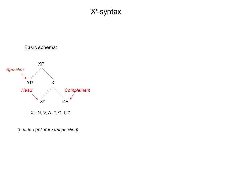 XP X X0X0 YP ZP X -syntax X 0 : N, V, A, P, C, I, D Basic schema: (Left-to-right order unspecified) Specifier HeadComplement