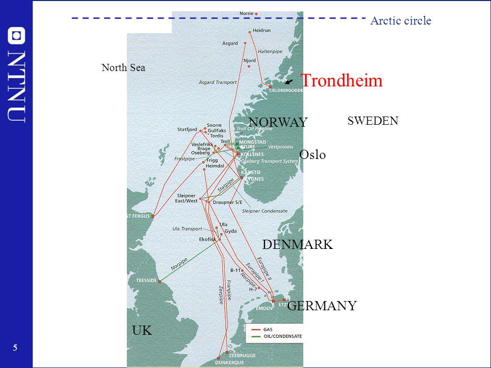 5 Trondheim Oslo UK NORWAY DENMARK GERMANY North Sea SWEDEN Arctic circle