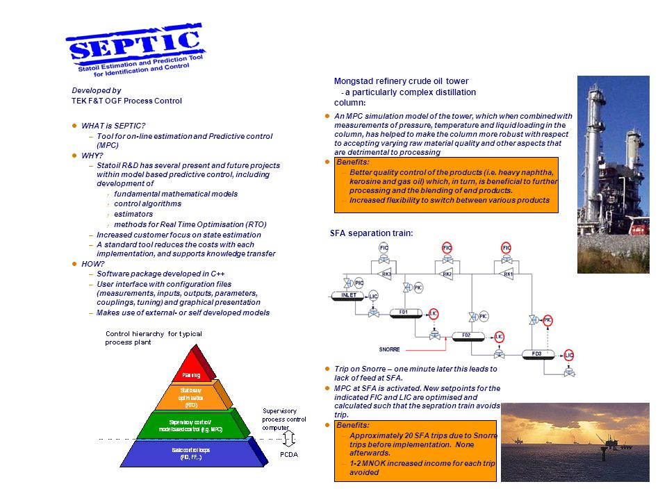 WHAT is SEPTIC? –Tool for on-line estimation and Predictive control (MPC) WHY? –Statoil R&D has several present and future projects within model based