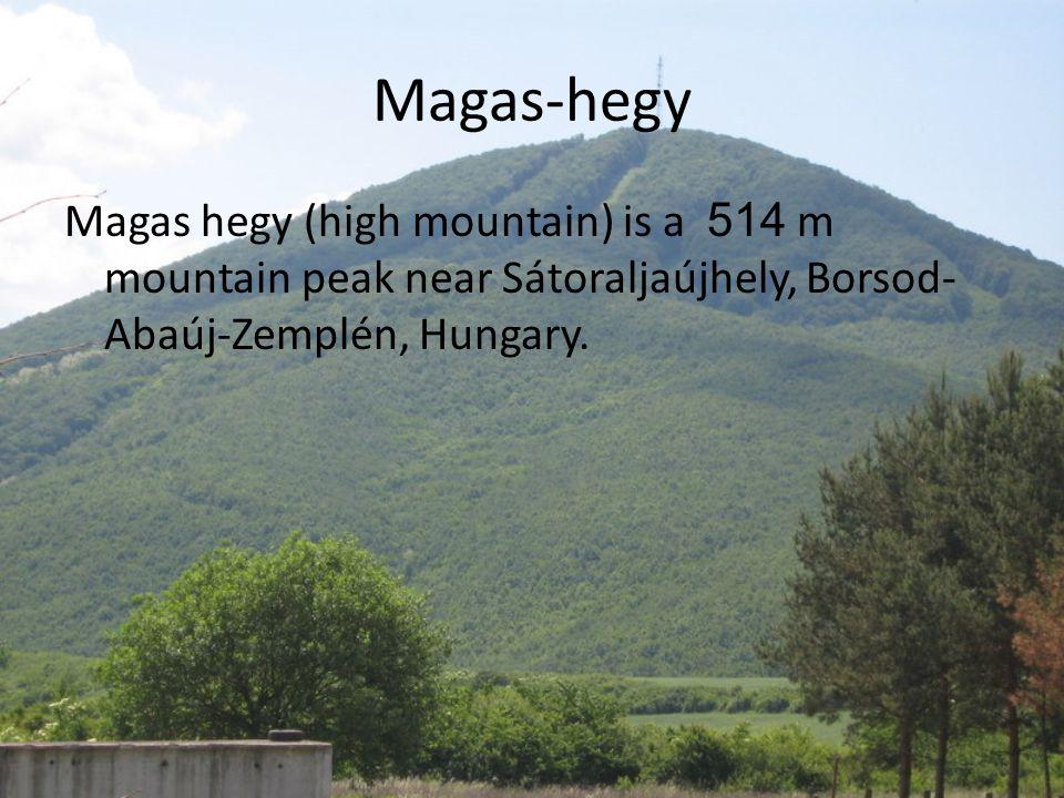 Magas-hegy Magas hegy (high mountain) is a 514 m mountain peak near Sátoraljaújhely, Borsod- Abaúj-Zemplén, Hungary.