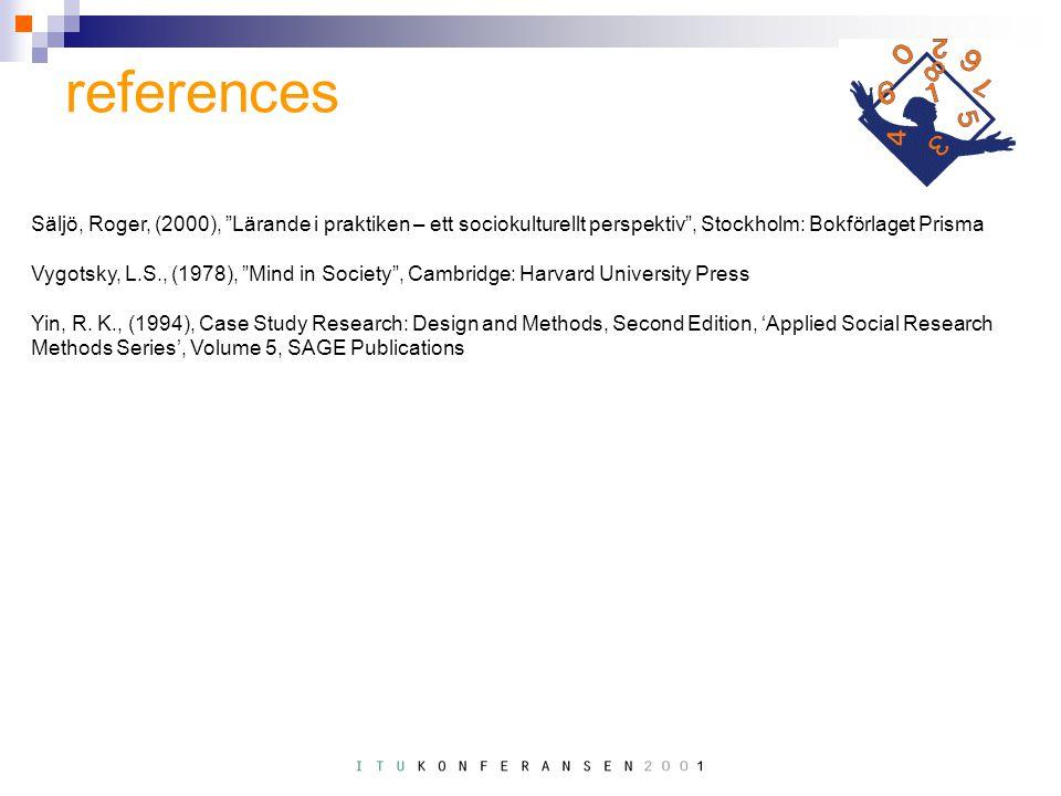references Säljö, Roger, (2000), Lärande i praktiken – ett sociokulturellt perspektiv , Stockholm: Bokförlaget Prisma Vygotsky, L.S., (1978), Mind in Society , Cambridge: Harvard University Press Yin, R.