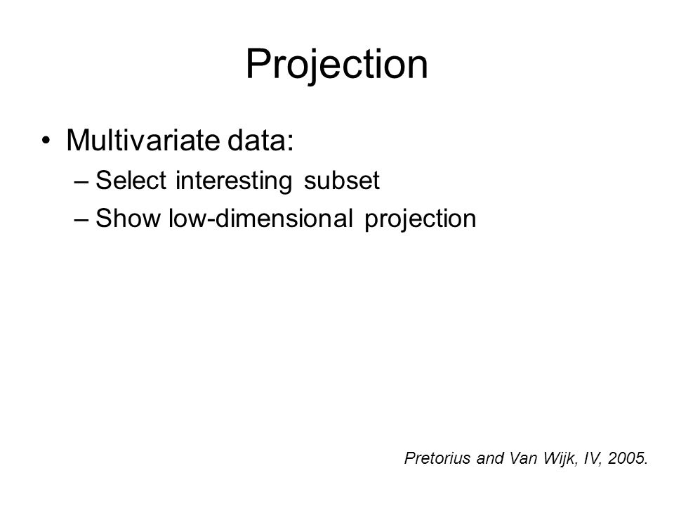 Projection Multivariate data: –Select interesting subset –Show low-dimensional projection Pretorius and Van Wijk, IV, 2005.