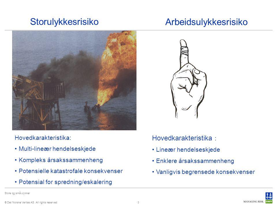 © Det Norske Veritas AS. All rights reserved. Store og små ulykker 3 Storulykkesrisiko Arbeidsulykkesrisiko Hovedkarakteristika: Multi-lineær hendelse