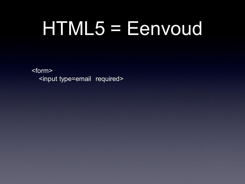 HTML5 = Eenvoud
