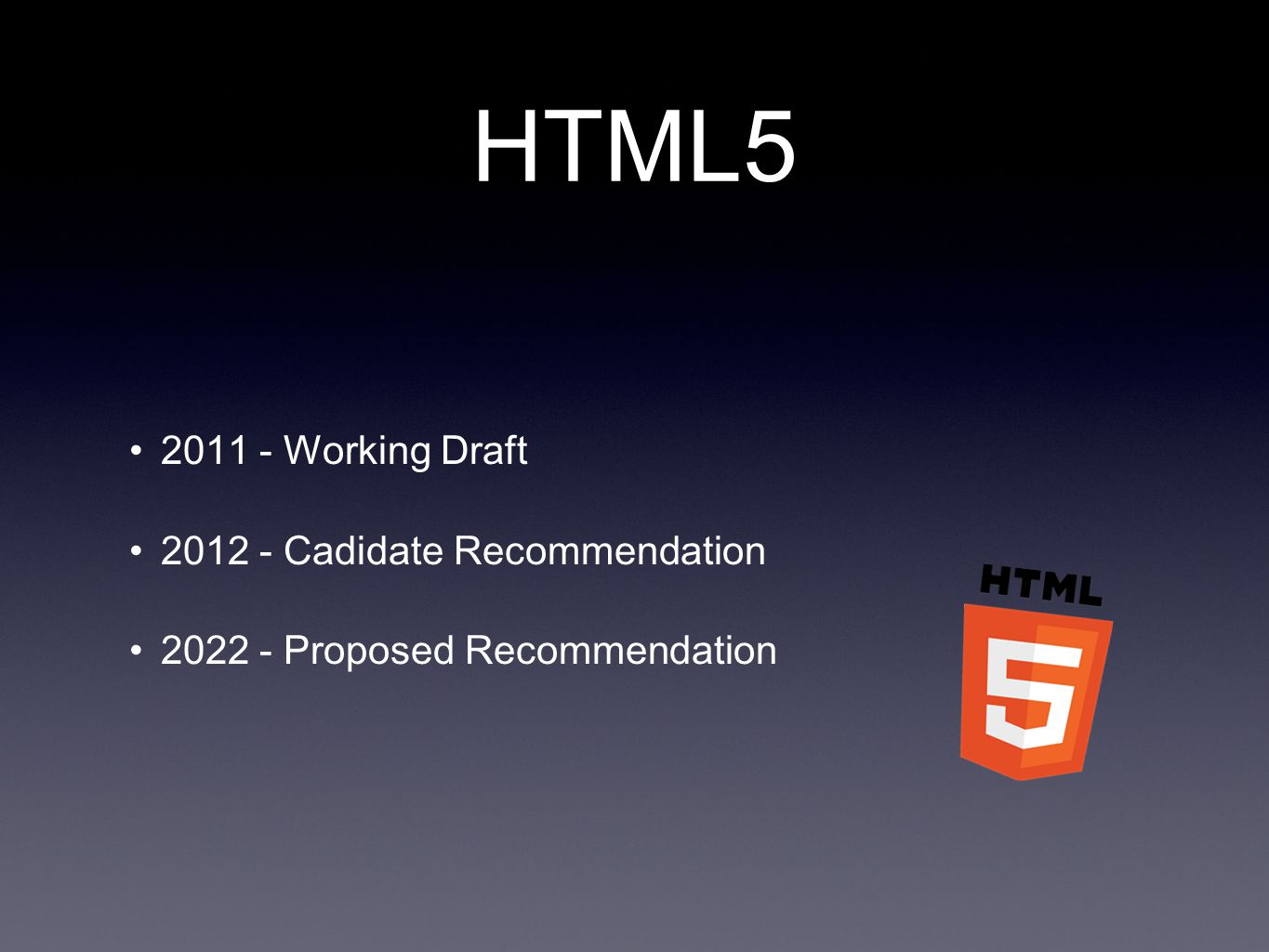 HTML5 2011 - Working Draft 2012 - Cadidate Recommendation 2022 - Proposed Recommendation