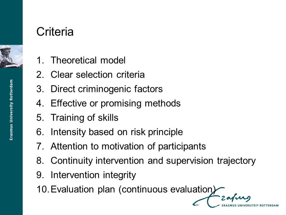 Criteria 1.Theoretical model 2.Clear selection criteria 3.Direct criminogenic factors 4.Effective or promising methods 5.Training of skills 6.Intensit