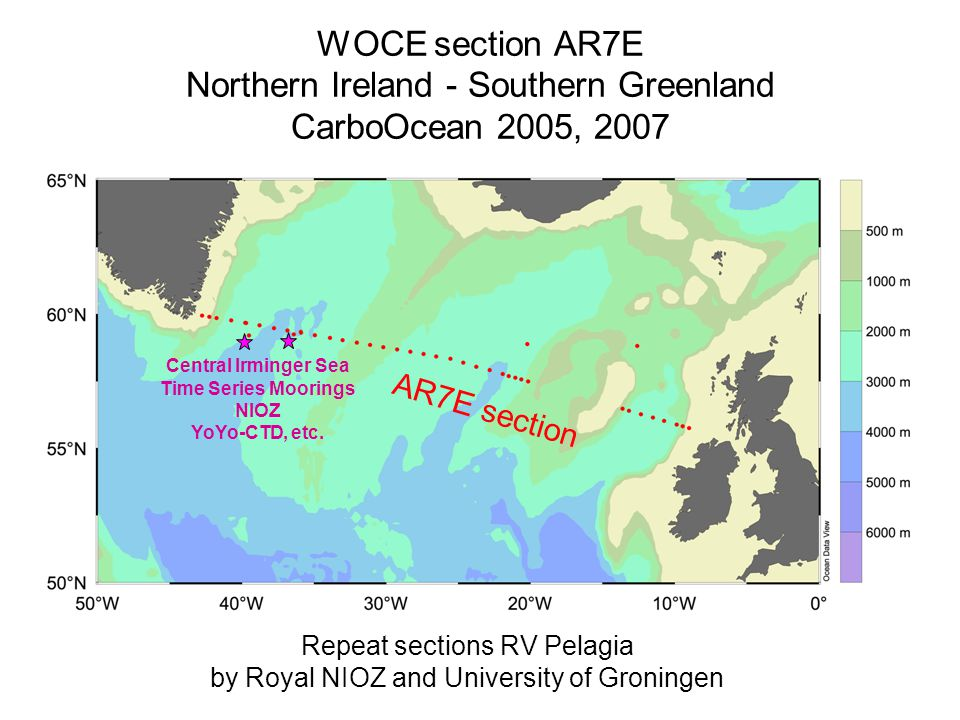 WOCE section AR7E Northern Ireland - Southern Greenland CarboOcean 2005, 2007 Repeat sections RV Pelagia by Royal NIOZ and University of Groningen Central Irminger Sea Time Series Moorings NIOZ YoYo-CTD, etc.