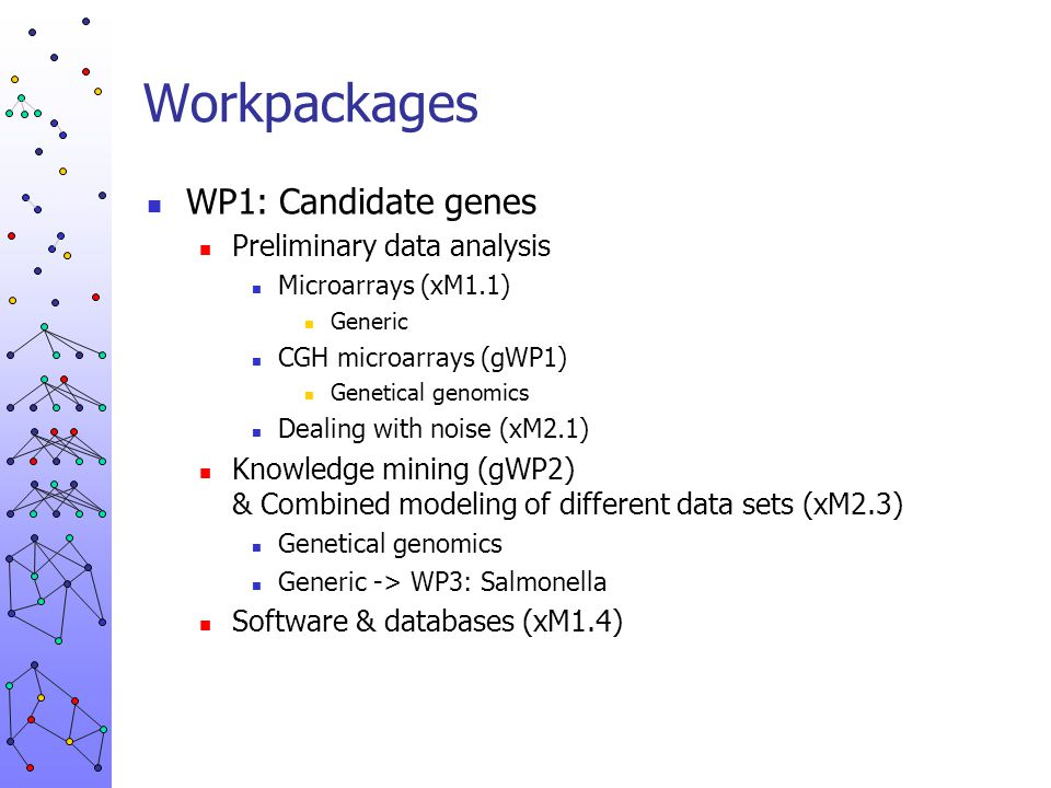 Workpackages WP1: Candidate genes Preliminary data analysis Microarrays (xM1.1) Generic CGH microarrays (gWP1) Genetical genomics Dealing with noise (