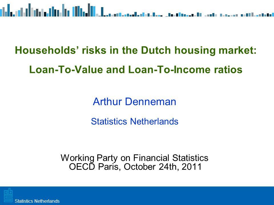 Utrecht, 20 februari 2009 Haarlem, 10 maart 2009Statistics Netherlands Risk table, all owner occupiers 2009, number of owner-occupiers (x 1 million) LTV categories 00 – 0.50.5 – 1>1 Totaal LTI categories0 0.7 0 – 3.5 1.4 3.5 – 7 1.4 > 7 0.7 Totaal0.71.3 0.9 4.2
