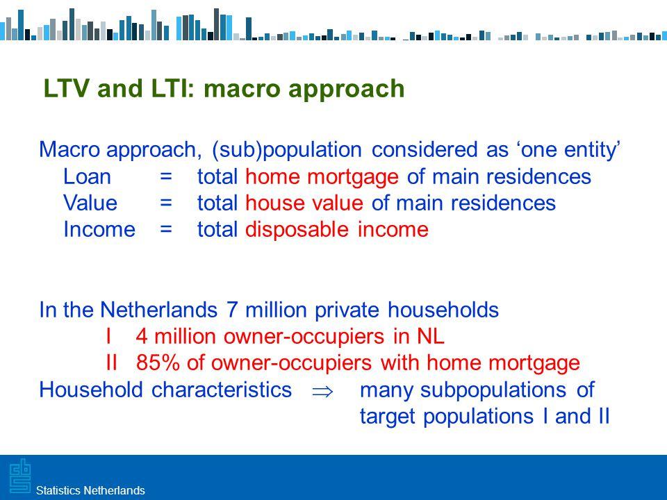 Utrecht, 20 februari 2009 Haarlem, 10 maart 2009Statistics Netherlands LTV and LTI: macro approach Macro approach, (sub)population considered as 'one