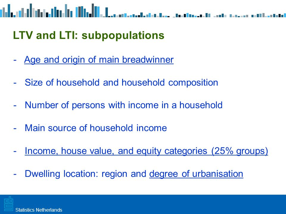 Utrecht, 20 februari 2009 Haarlem, 10 maart 2009Statistics Netherlands LTV and LTI: subpopulations - Age and origin of main breadwinner - Size of household and household composition - Number of persons with income in a household - Main source of household income - Income, house value, and equity categories (25% groups) - Dwelling location: region and degree of urbanisation