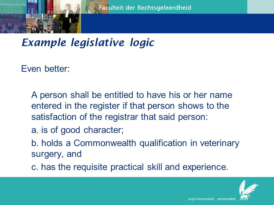 Faculteit der Rechtsgeleerdheid Our second international standard Paragraphing: character of subsections The inclusive or exclusive character of the subsections should be made clear.