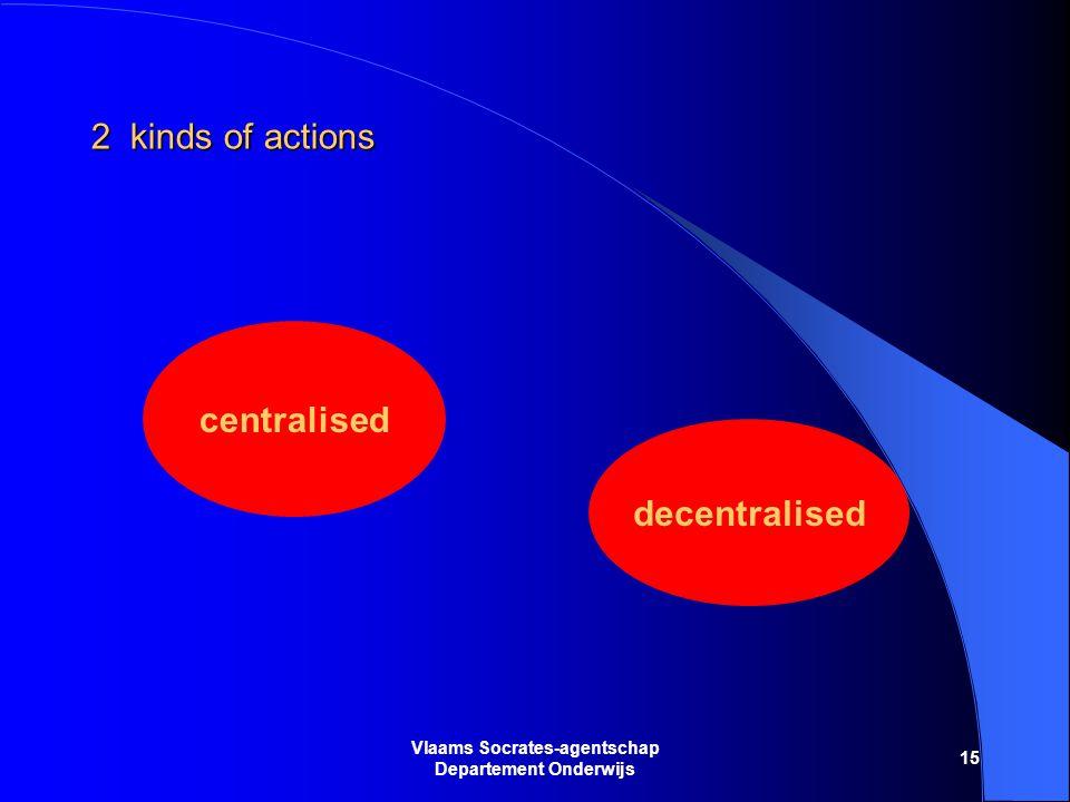 15 Vlaams Socrates-agentschap Departement Onderwijs 2 kinds of actions centralised decentralised