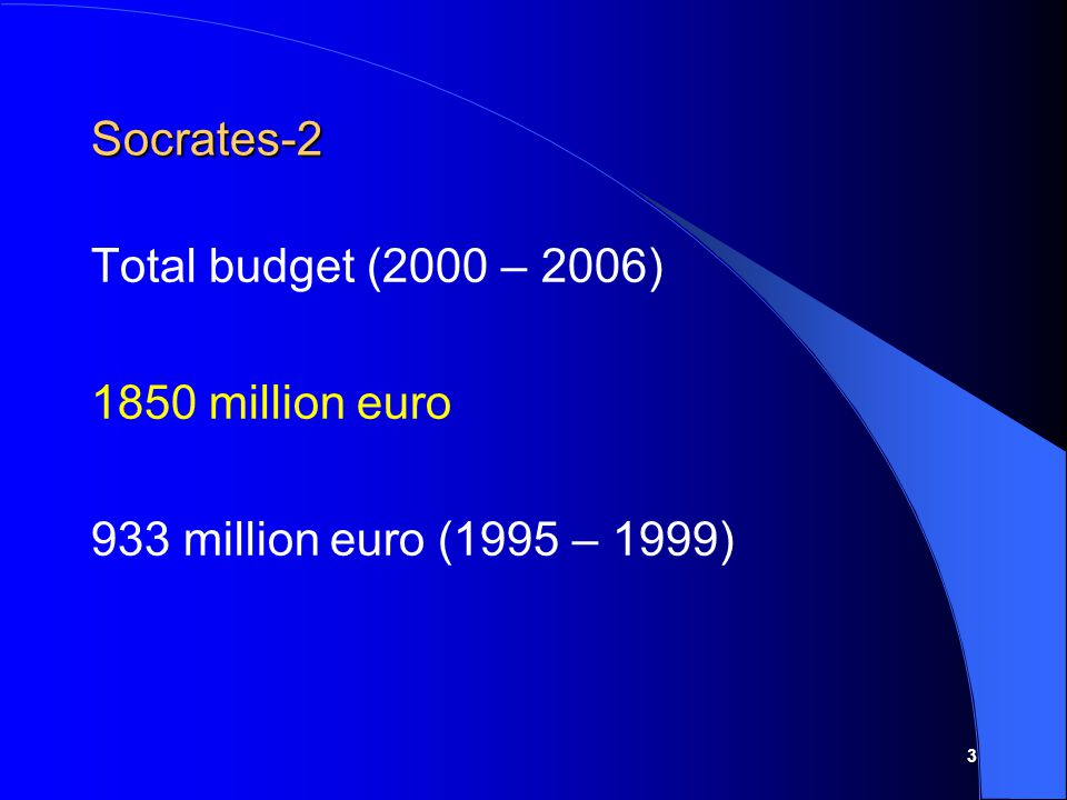 3 Socrates-2 Total budget (2000 – 2006) 1850 million euro 933 million euro (1995 – 1999)