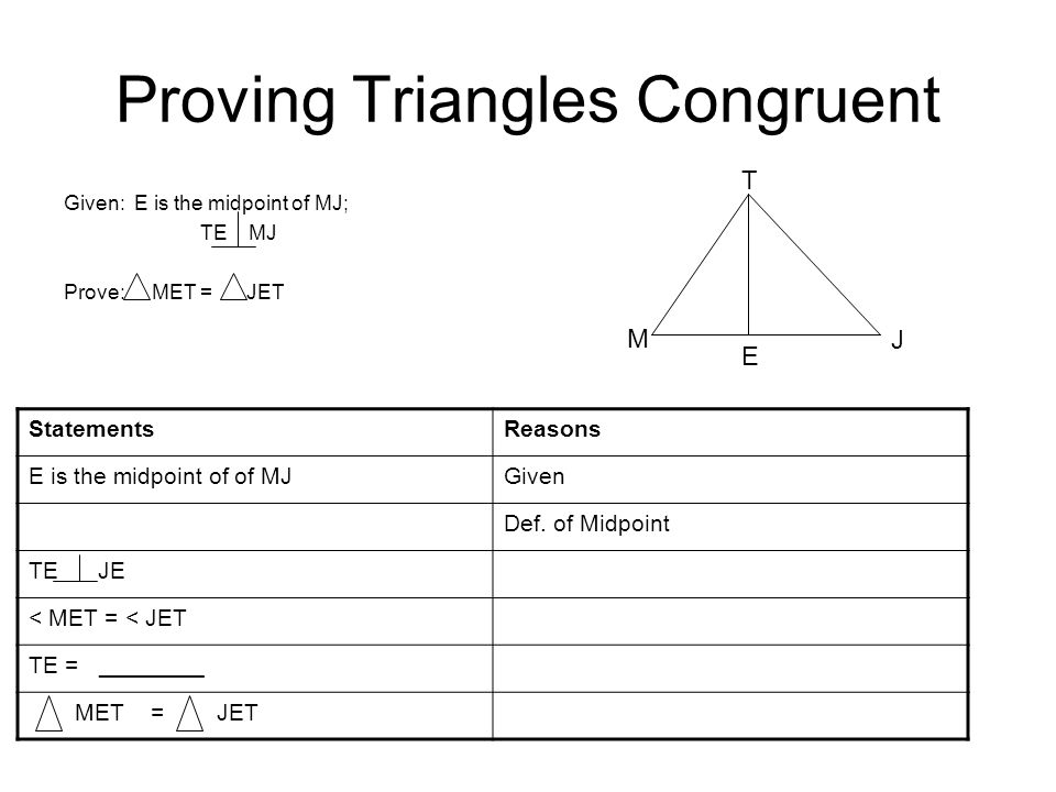 Proving Triangles Congruent Given: E is the midpoint of MJ; TE MJ Prove: MET = JET T M E J StatementsReasons E is the midpoint of of MJGiven Def. of M