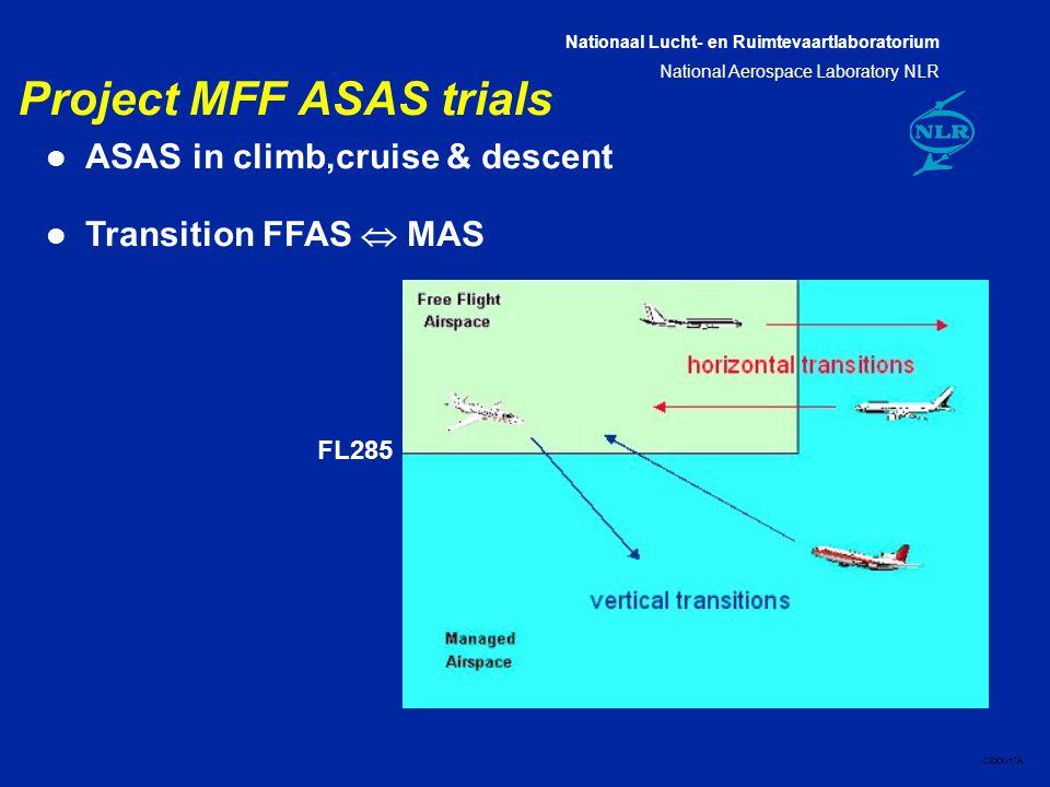 Nationaal Lucht- en Ruimtevaartlaboratorium National Aerospace Laboratory NLR CXXX-17A Project MFF ASAS trials l ASAS in climb,cruise & descent l Transition FFAS  MAS FL285