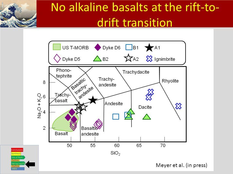 Klik om het opmaakprofiel te bewerken Klik om de opmaakprofielen van de modeltekst te bewerken – Tweede niveau Derde niveau – Vierde niveau » Vijfde niveau 11 No alkaline basalts at the rift-to- drift transition Meyer et al.