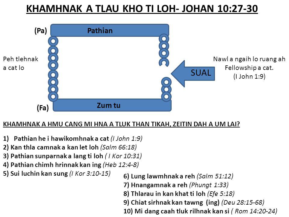 KHAMHNAK A TLAU KHO TI LOH- JOHAN 10:27-30 SUAL Nawl a ngaih lo ruang ah Fellowship a cat. (I John 1:9) Pathian Zum tu (Pa) Peh tlehnak a cat lo (Fa)