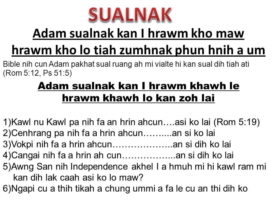 Adam sualnak kan I hrawm kho maw hrawm kho lo tiah zumhnak phun hnih a um Bible nih cun Adam pakhat sual ruang ah mi vialte hi kan sual dih tiah ati (