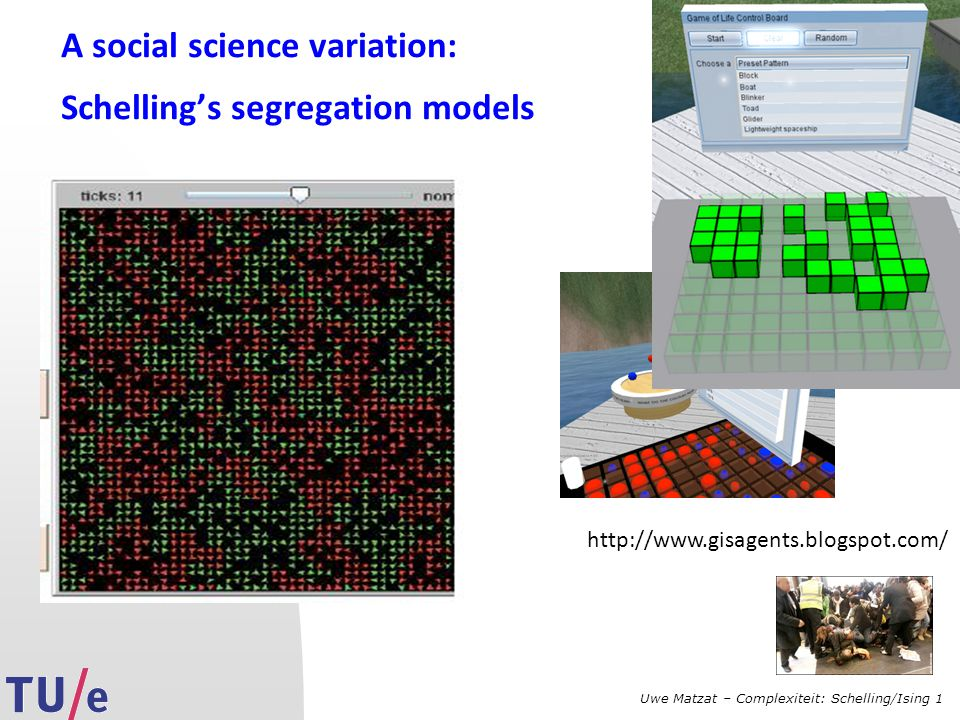 Uwe Matzat – Complexiteit: Schelling/Ising 1 A social science variation: Schelling's segregation models http://www.gisagents.blogspot.com/