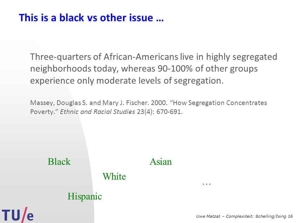 Uwe Matzat – Complexiteit: Schelling/Ising 16 This is a black vs other issue … Three-quarters of African-Americans live in highly segregated neighborh