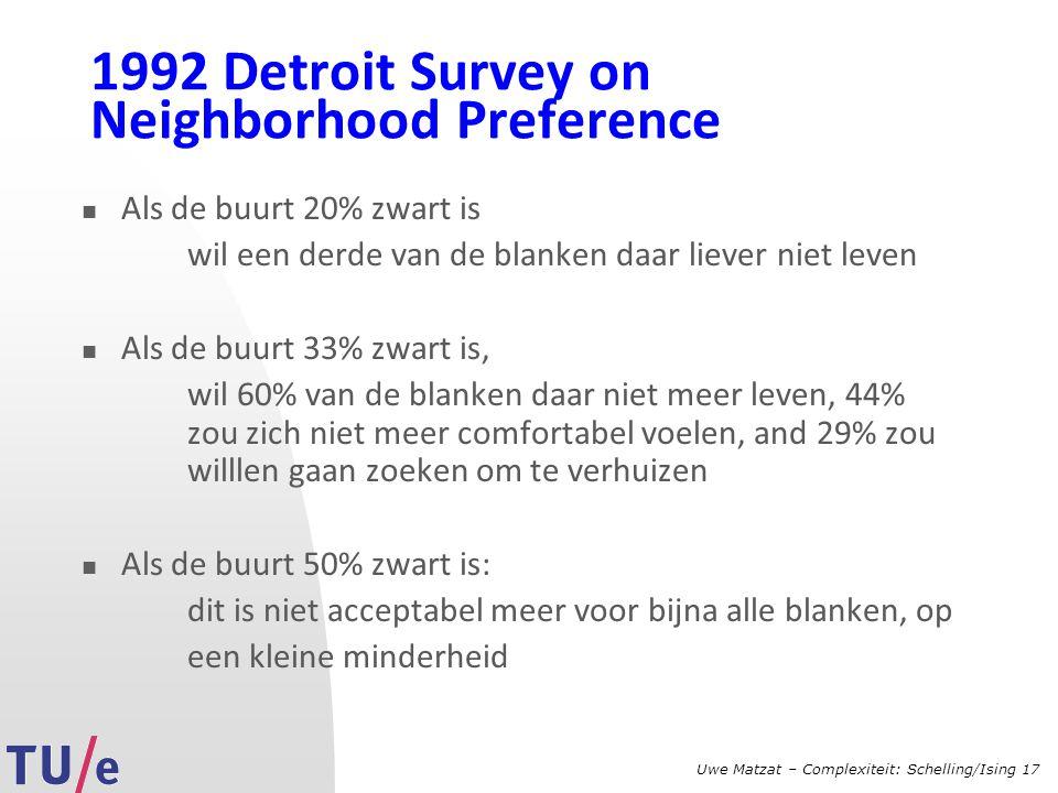 Uwe Matzat – Complexiteit: Schelling/Ising 17 1992 Detroit Survey on Neighborhood Preference Als de buurt 20% zwart is wil een derde van de blanken daar liever niet leven Als de buurt 33% zwart is, wil 60% van de blanken daar niet meer leven, 44% zou zich niet meer comfortabel voelen, and 29% zou willlen gaan zoeken om te verhuizen Als de buurt 50% zwart is: dit is niet acceptabel meer voor bijna alle blanken, op een kleine minderheid