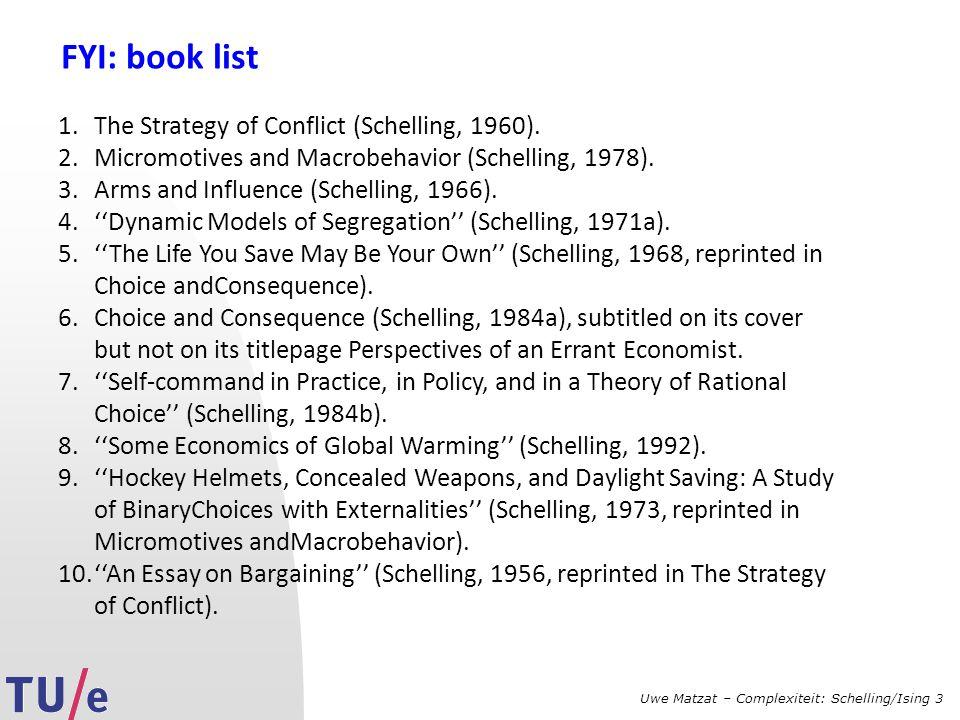 Uwe Matzat – Complexiteit: Schelling/Ising 3 FYI: book list 1.The Strategy of Conflict (Schelling, 1960).