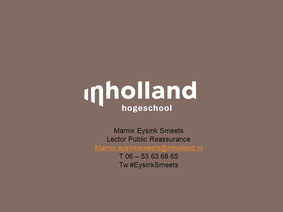 Marnix Eysink Smeets Lector Public Reassurance Marnix.eysinksmeets@inholland.nl T 06 – 53 63 68 65 Tw #EysinkSmeets
