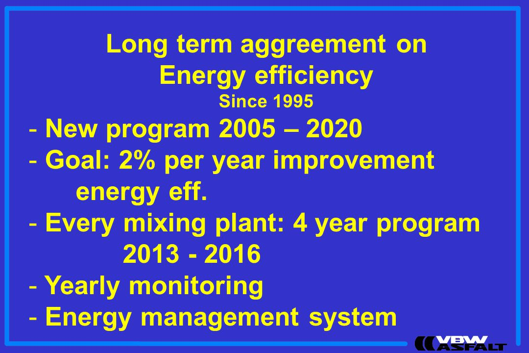 Long term aggreement on Energy efficiency Since New program 2005 – Goal: 2% per year improvement energy eff.