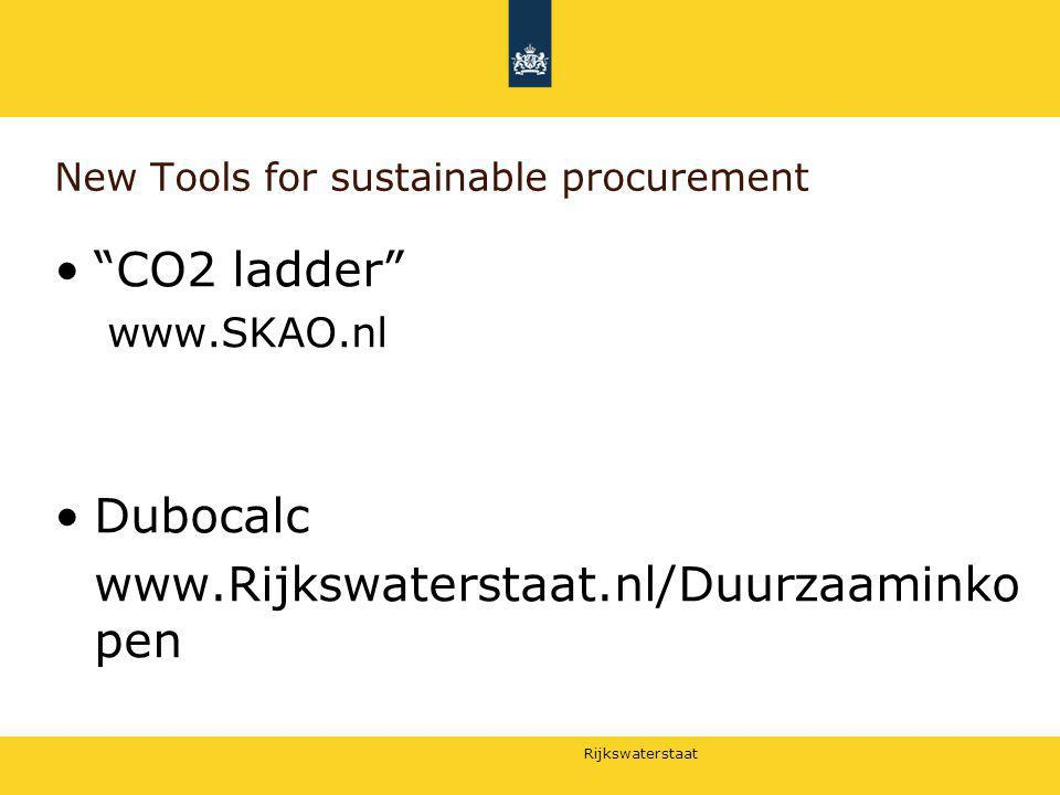 Rijkswaterstaat 22-12-2011 4 Dubocalc LCA based tool international standard based on materials and energy) Other environmental effects are taking into acount in an Environmental Impact Study Relevant international acceptance (relation to CPR basis requirement 7 (sustainability)