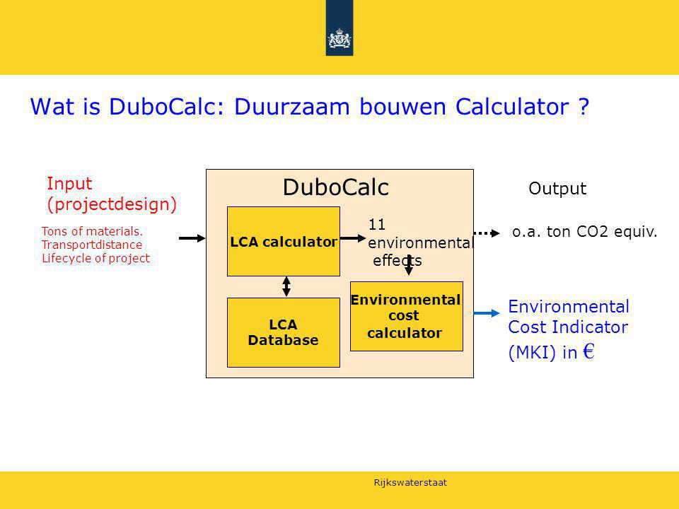 Rijkswaterstaat DuboCalc standardisation LCA calculator Ontwerpspecs Selectie van processen: uniek voor DuboCalc Input Output National database Building materials Nationale database Environmental costs Nationale selection of Environmental effects Environmental costs ( MKI ) DuboCalc o.a.