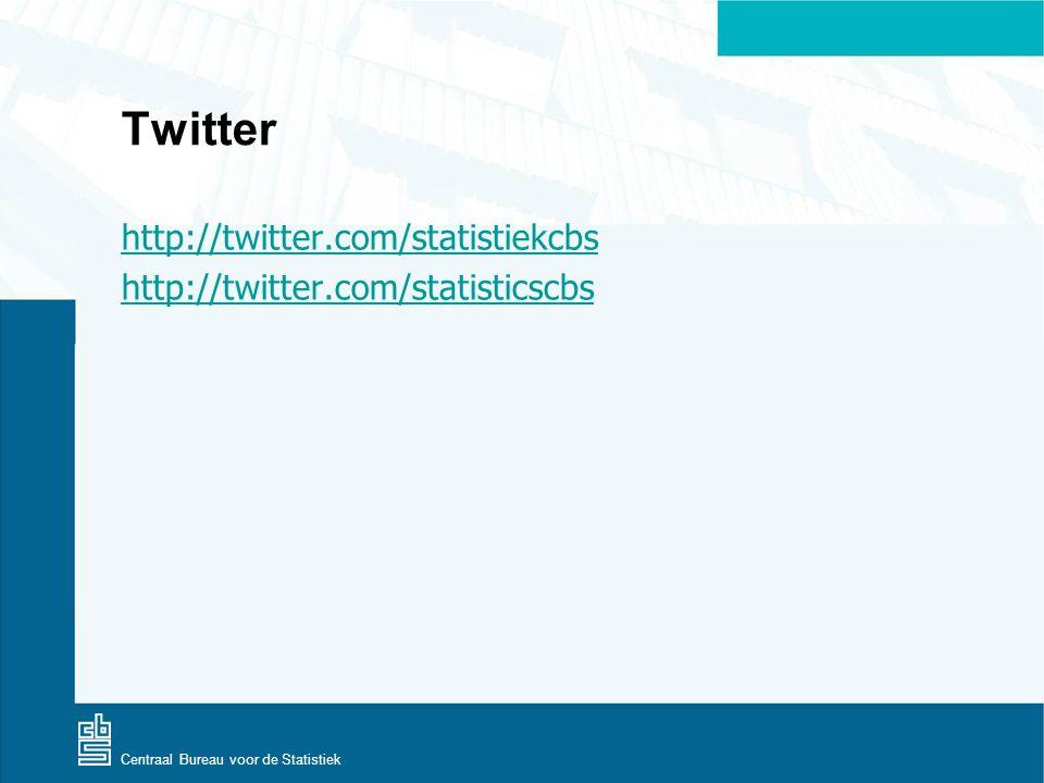 Centraal Bureau voor de Statistiek Twitter http://twitter.com/statistiekcbs http://twitter.com/statisticscbs