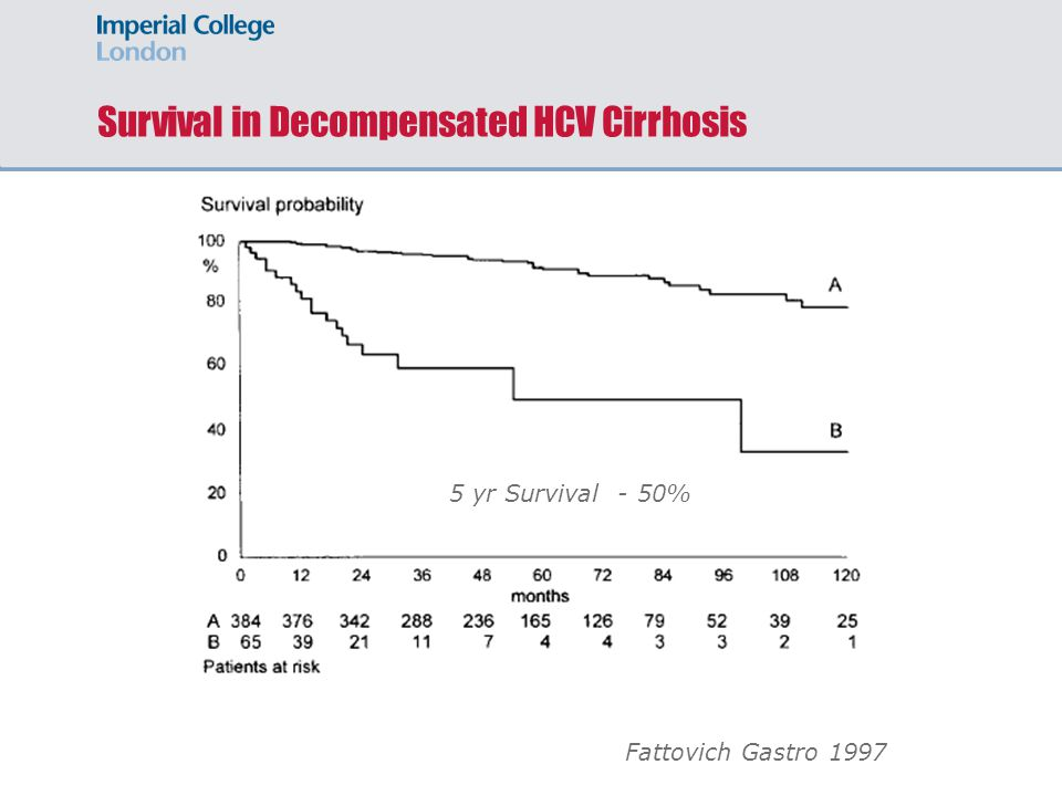 Survival in Decompensated HCV Cirrhosis Fattovich Gastro 1997 5 yr Survival - 50%