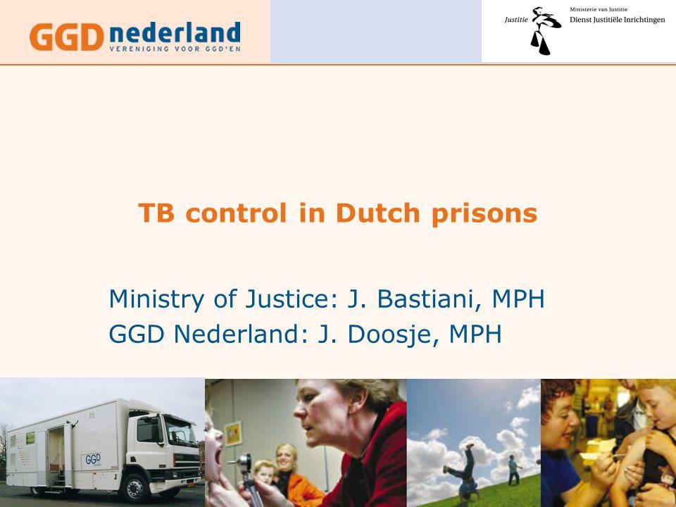 TB control in Dutch prisons Ministry of Justice: J. Bastiani, MPH GGD Nederland: J. Doosje, MPH