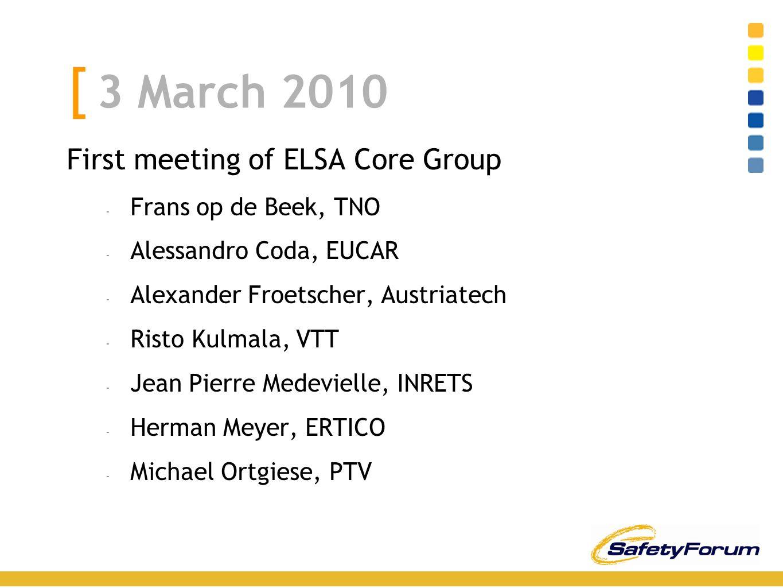 [ 3 March 2010 First meeting of ELSA Core Group - Frans op de Beek, TNO - Alessandro Coda, EUCAR - Alexander Froetscher, Austriatech - Risto Kulmala, VTT - Jean Pierre Medevielle, INRETS - Herman Meyer, ERTICO - Michael Ortgiese, PTV