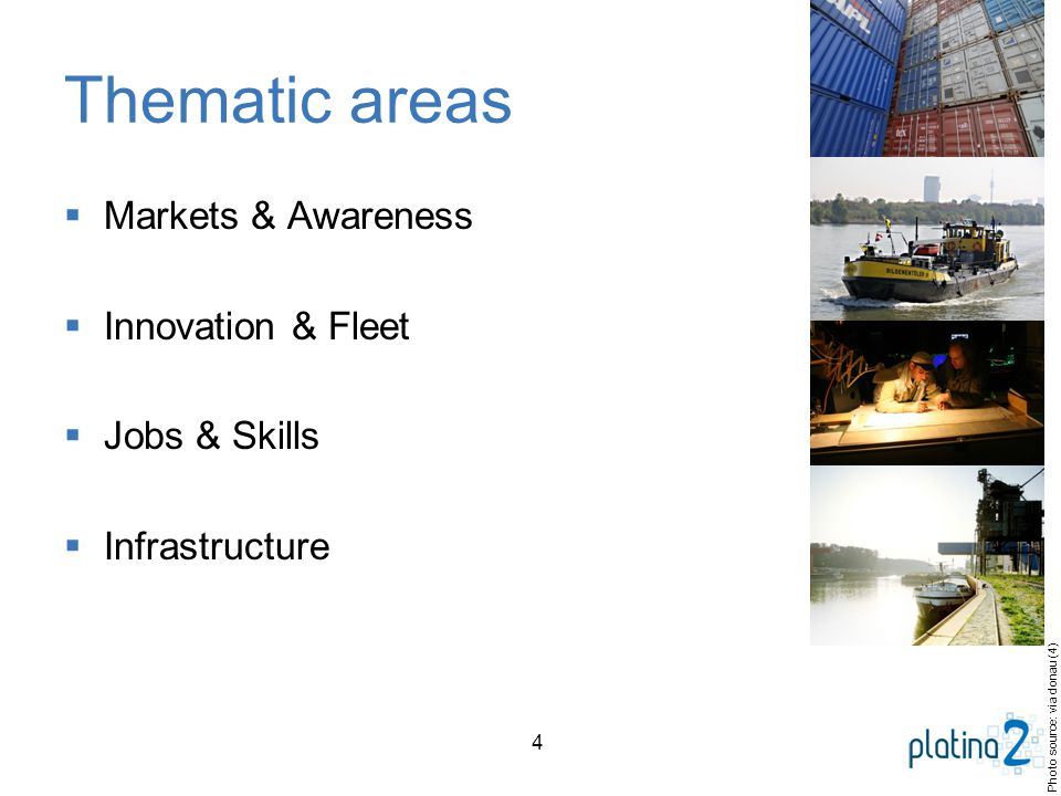 4 Thematic areas  Markets & Awareness  Innovation & Fleet  Jobs & Skills  Infrastructure Photo source: via donau (4)