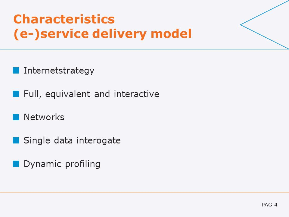 PAG 4 Characteristics (e-)service delivery model Internetstrategy Full, equivalent and interactive Networks Single data interogate Dynamic profiling P