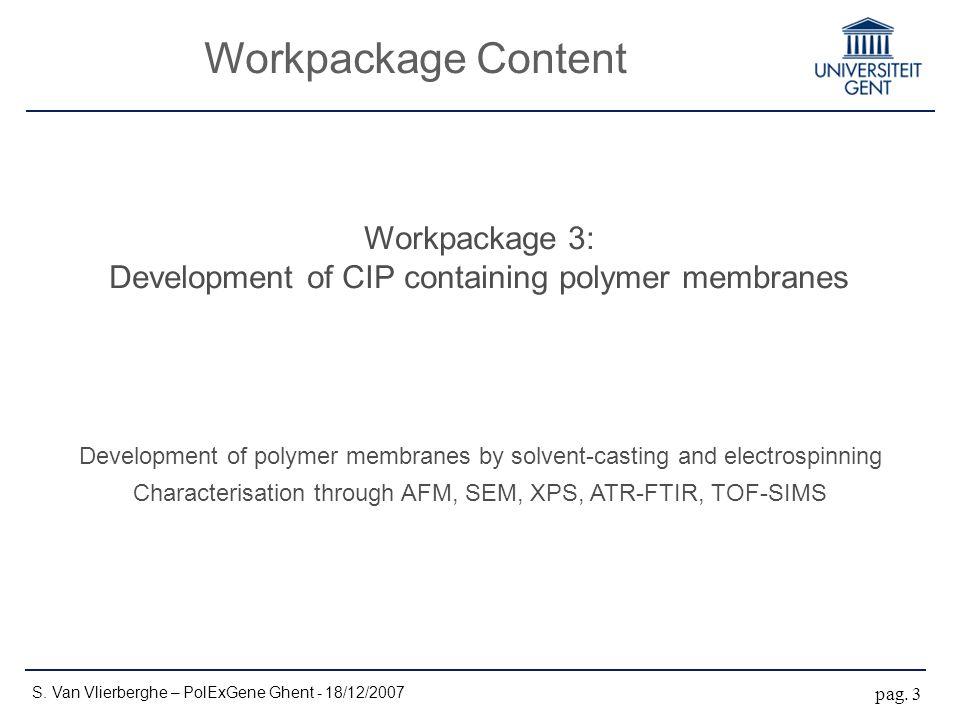 Workpackage Content S. Van Vlierberghe – PolExGene Ghent - 18/12/2007 pag. 3 Workpackage 3: Development of CIP containing polymer membranes Developmen