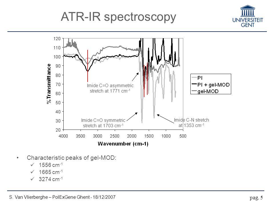 ATR-IR spectroscopy S. Van Vlierberghe – PolExGene Ghent - 18/12/2007 pag. 5 Imide C=O asymmetric stretch at 1771 cm -1 Imide C=O symmetric stretch at