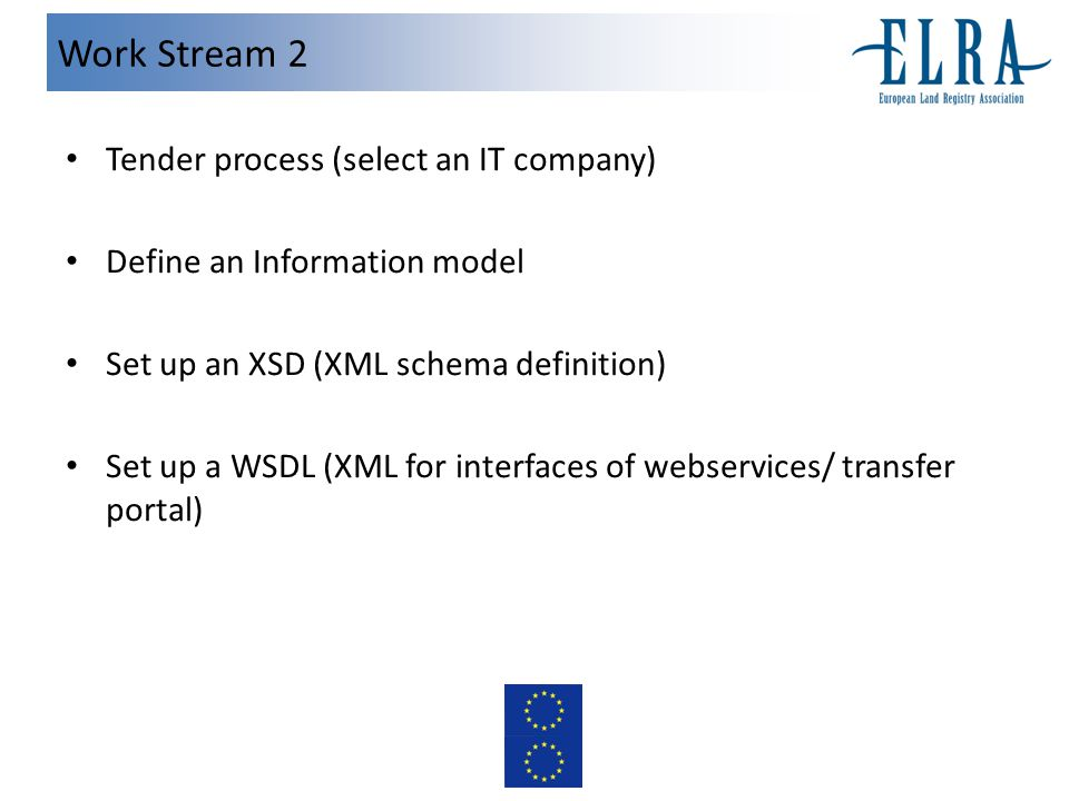 Work Stream 2 Tender process (select an IT company) Define an Information model Set up an XSD (XML schema definition) Set up a WSDL (XML for interfaces of webservices/ transfer portal)