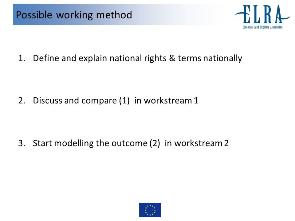 Possible working method 1.Define and explain national rights & terms nationally 2.Discuss and compare (1) in workstream 1 3.Start modelling the outcome (2) in workstream 2