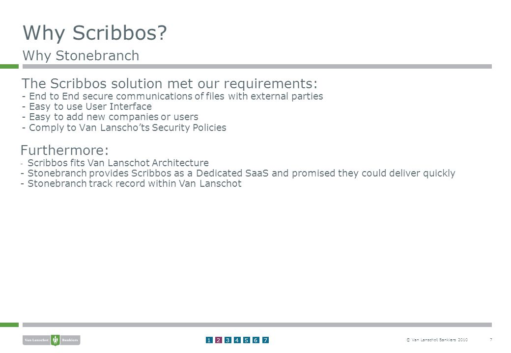© Van Lanschot Bankiers The Scribbos solution met our requirements: - End to End secure communications of files with external parties - Easy to use User Interface - Easy to add new companies or users - Comply to Van Lanscho'ts Security Policies Why Scribbos.
